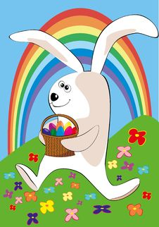 Free The Easter Rabbit Bearing A Basket Of Easter Eggs Stock Photo - 19023220