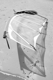 Wind Surfboard Lying On The Beach Stock Photo
