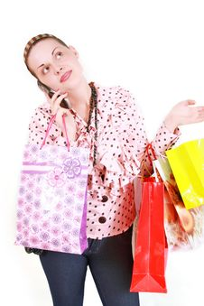 Free Woman With Purchases Stock Image - 19024031