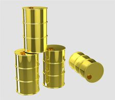 Free Gold Oil Barrels Royalty Free Stock Image - 19024656