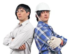 Free Twins Businessman And Engineer Royalty Free Stock Image - 19025056