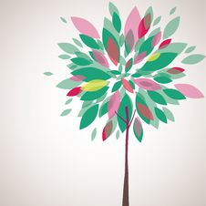 Abstract Tree, Flowers. Vector Illustration Stock Photography