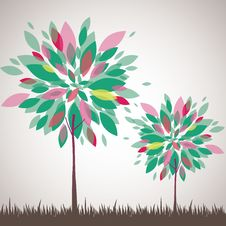 Abstract Tree, Flowers. Vector Illustration Stock Image