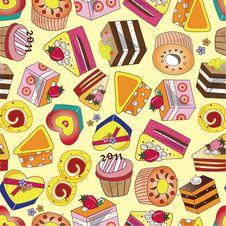 Seamless Cake Pattern Royalty Free Stock Photo