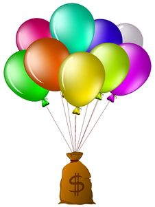 Free Balloons With A Bag Of Money Stock Images - 19028144