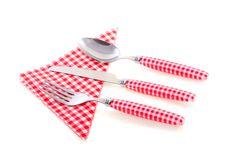 Free White Checkered Cutlery Stock Photos - 19028583