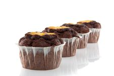 Free Four Tasteful Chocolate Muffins Royalty Free Stock Photography - 19028727