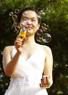 Free Young Woman With Soap Bubbles Stock Images - 19029364
