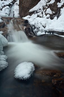 Mountain Waterfall With Some Snow Royalty Free Stock Image