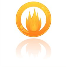 Free Glossy Fire Button Royalty Free Stock Photos - 19029688