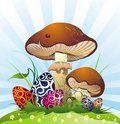 Free Landscape With Mushrooms And Eggs Royalty Free Stock Photo - 19034435