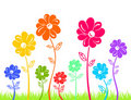 Free Colour Flowers On Green Grass Isolated Royalty Free Stock Photography - 19037357
