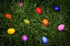 Colorful Easter Eggs Hidden In The Grass Stock Image
