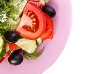Plate Of Fresh Salad Across White Royalty Free Stock Photo