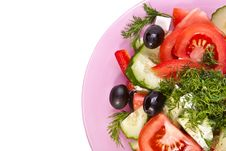 Free Plate Of Fresh Salad Across White Royalty Free Stock Image - 19031256