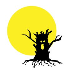 Free Full Moon And Tree Illustration Stock Images - 19033794