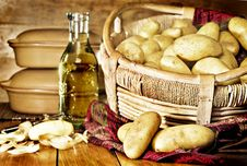 Free Still Life Of Potatoes In A Basket Royalty Free Stock Photo - 19034135