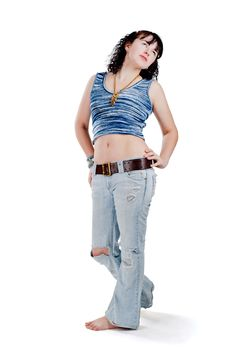 Free Girl In Torn Jeans Royalty Free Stock Photography - 19034247
