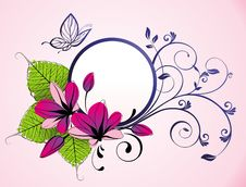 Free Floral Frame With Butterfly And Flowers Stock Photo - 19034360