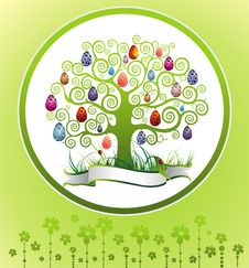 Free Easter Frame With Tree And Eggs Royalty Free Stock Image - 19034466