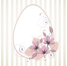Free Stylized Easter Frame With Egg And Flowers Royalty Free Stock Photography - 19034787