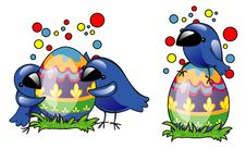 Easter Eggs And Birds Stock Photo