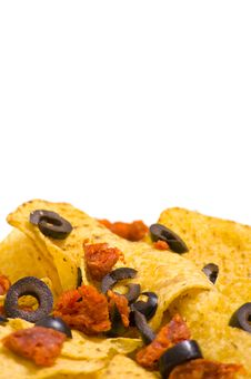 Free Nacho Chips With Olives Stock Photo - 19036380