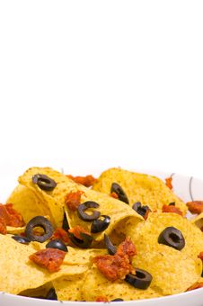 Free Nacho Chips With Olives Royalty Free Stock Photo - 19036395