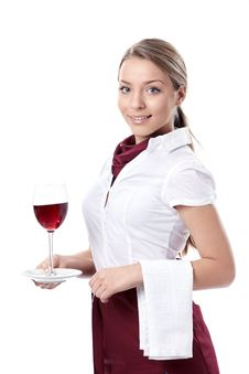 Free Waitress With A Glass Of Wine Royalty Free Stock Photos - 19036648