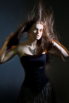Beautiful Lady With Long Brown Hair Stock Photo