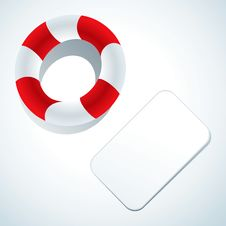 Free Lifebuoy And Business Card Royalty Free Stock Photography - 19037007
