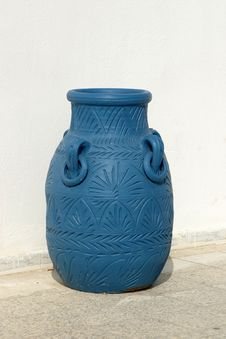 Free Blue Amphora On The Terrace Stock Photo - 19038500