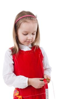 Free Little Girl Measuring Waist Royalty Free Stock Photo - 19038815