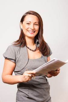 Free Young Smiling Woman With Documents Stock Image - 19039721