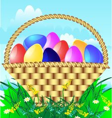 Free Easter Basket With Eggs Royalty Free Stock Images - 19039909