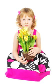 Free Little Girl In Fashion Dresswith Yellow Flowers. Royalty Free Stock Images - 19039999