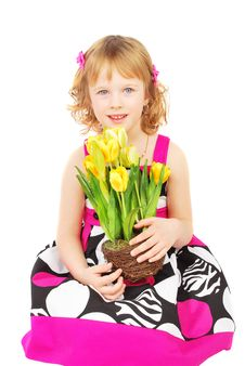 Free Little Girl With Spring Flowers. Stock Image - 19040001