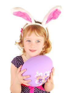 Unhappy Little Rabbit Girl Stock Photo