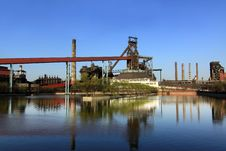 Disused Steelmaking Plant Near A Lake Royalty Free Stock Images