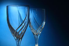 Free Drinking Glasses On Blue Background Stock Photography - 19040802
