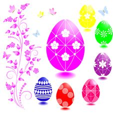 Free Set Of Easter Eggs. Stock Images - 19040844