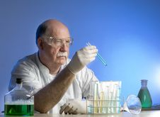 Free Scientist Working With Chemicals Royalty Free Stock Image - 19041506