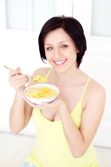 Free Girl Eating Cornflakes Stock Photos - 19041653