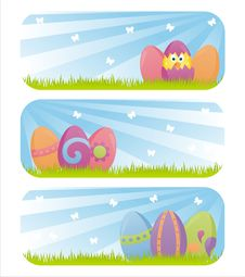 Free Colorful Easter Banners Royalty Free Stock Photos - 19043068