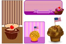 Free Set Banner American Sweets Stock Images - 19043194