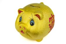 Free Golden Piggy Bank Royalty Free Stock Photography - 19043947