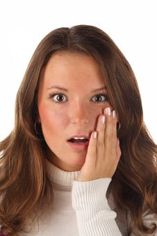 Free Close Up Portrait Of Surprised Girl (isolated) Stock Images - 19044144