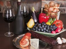 Still Life With Wine And Some Fruits,vegetables, Stock Image