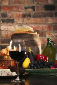 Still Life With Wine And Some Fruits,vegetables, Royalty Free Stock Photos