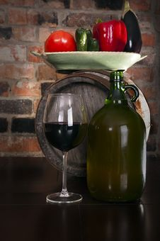 Free Still Life With Wine And Some Vegetables Stock Photography - 19044762